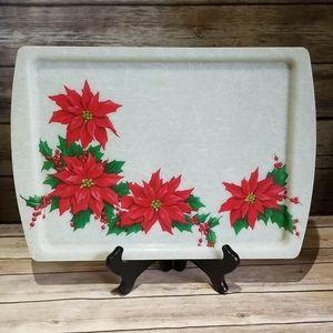 Vtg 60s poinsettia fiberglass serving tray